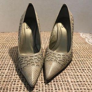 Carlos Sparkled Beige Leather Stiletto Heel 8M